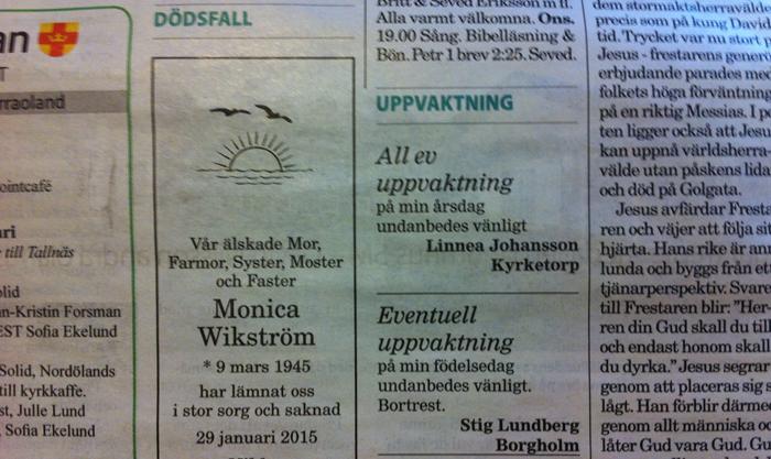 Monica Wikström har lämnat oss