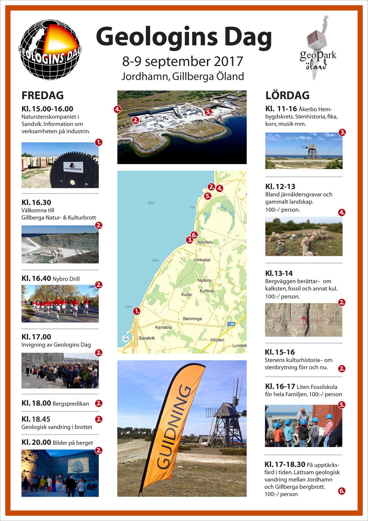 Geologins Dag - 8-9 september 2017 i Jordhamn, Gillberga, Öland